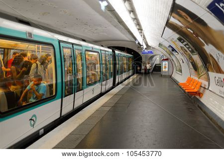PARIS - AUGUST 10, 2015: interior of Paris Metropolitain station. The Paris Metro or Metropolitain is a rapid transit system in the Paris Metropolitan Area