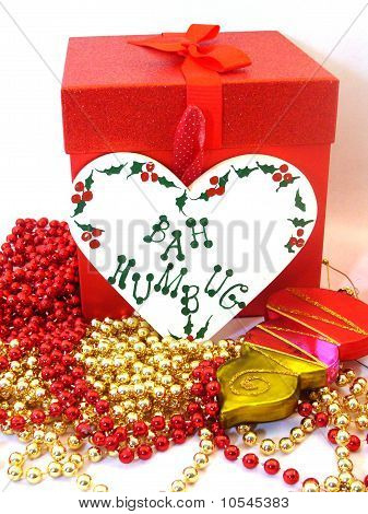 Gift box, decorations, and a
