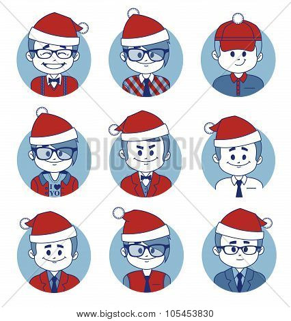 Set of icons with Christmas business characters