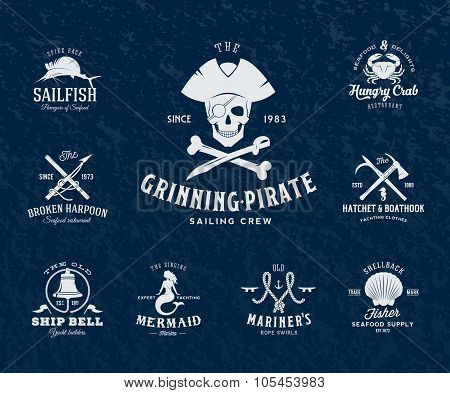 Vintage Nautical Labels or Design Elements With Retro Textures and Typography. Pirates, Harpoons, Kn