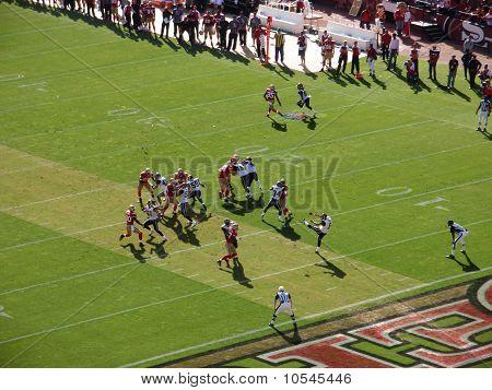 Rams Kicker Punts Football Down Field