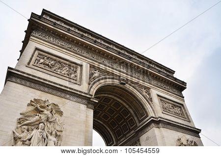 Arc De Triomphe With Sky In Paris