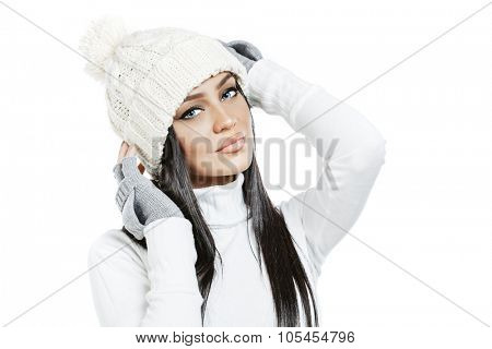 Beautiful brunette girl model in winter clothes