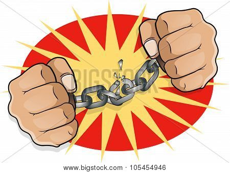 Pop Art Chained Fists Breaking Free.