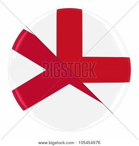 Northern Irish/engish Relations Concept Image - Badge With Split Flags Of Northern Ireland And Engla
