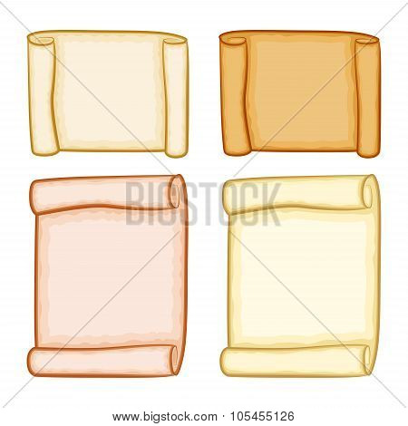 Paper Scroll Clipart Set Vector Isolated On White Background. Empty, Blank Parchment Rolled Up Scrol