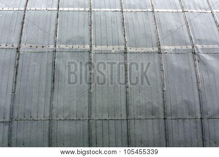 Metal hangar wall texture.