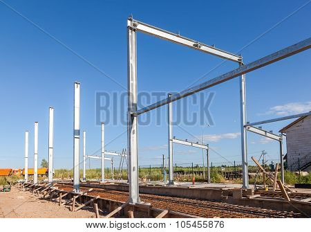 Erection Of Metal Structures In Summer Sunny Day
