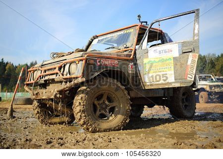 RUSSIA, PUSHKINO -?? 20 SEP, 2014: Off-road vehicle is standing with open door at Rainforest Challenge Russia Autumn 2014 PRO-X.