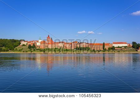 Grudziadz city granaries at Vistula river, Poland