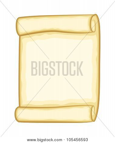 Paper Scroll Clipart Vector Isolated On White Background. Empty, Blank Parchment Rolled Up Scroll, O