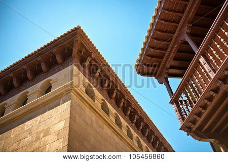 BARCELONA, SPAIN - MAY 02: Architecture detail with eaves and a balcony in Poble Espanyol, Barcelona, Spain a sector of the city retained as an architectural museum. May 02, 2015.