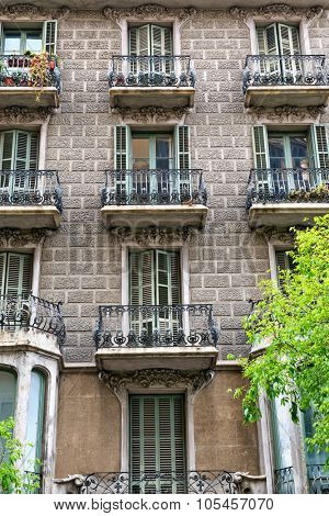 BARCELONA, SPAIN - MAY 02: Details of the facade of art noveau houses in Barcelona. May 01, 2015 in Barcelona, Spain. May 02, 2015.