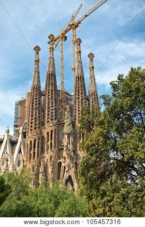 BARCELONA, SPAIN - MAY 02: Gothic exterior of the Sagrada Familia, Barcelona, Spain designed in modernist style by Antoni Gaudi and a popular historic tourist landmark. May 02, 2015.