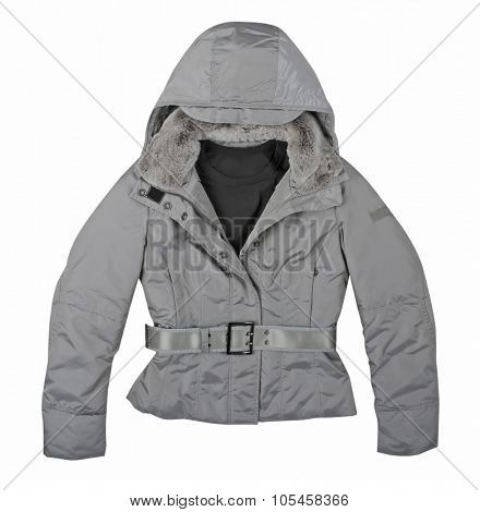 gray winter jacket  isolated on white background