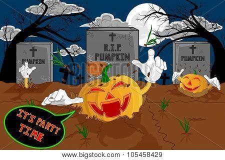 Halloween Cartoon Resurrect Pumpkin For Celebration Of Halloween.