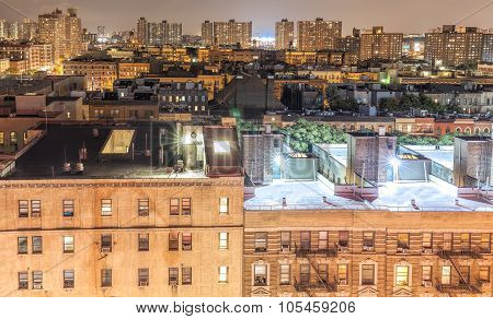 Harlem Neighborhood At Night, Nyc, Usa.