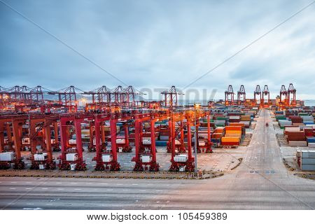Industrial port at dawn at the Port of shanghai