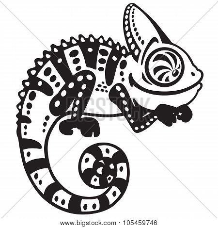 cartoon chameleon black and white