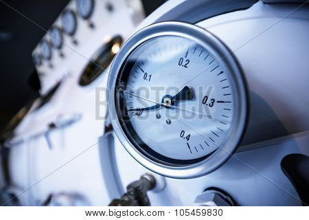 Close up of barometer in natural gas production industry