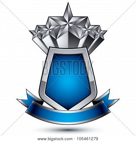 Heraldic Vector Template With Pentagonal Silver Stars Placed Over Gray Protection Shield And Decorat