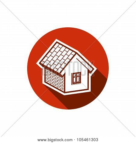 Country House Constructed With Bricks, Vector Home Symbol. Real Estate Agency Emblem. Conceptual Ico