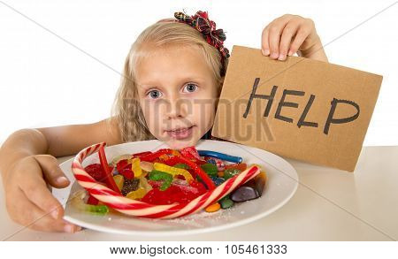 Little Female Child Nutrition Abuse Of Sweet And Sugar In Candy Unhealthy Food