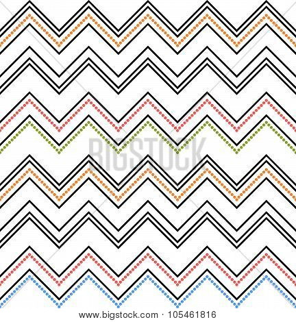 Seamless Chevron Texture. Colored Zig-zag Pattern On White