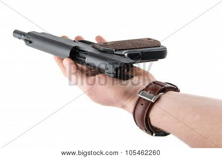 Hand With Gun And Open Bolt