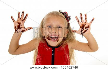 Pretty Little Female Child With Long Blond Hair And Blue Eyes Wearing Red Dress Showing Dirty Hands