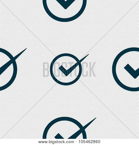 Check Mark Sign Icon. Checkbox Button. Seamless Abstract Background With Geometric Shapes.