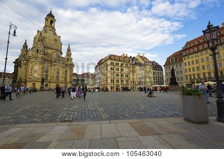 Evening View Of The New Market Square In Dresden