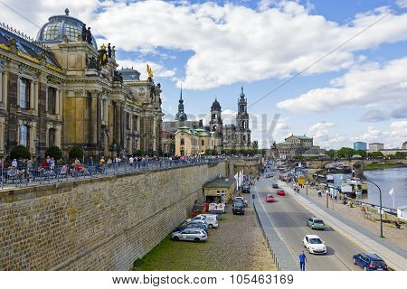 General View Of Dresden At The River Side