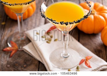 Pumpkintini pumpkin martini coctail