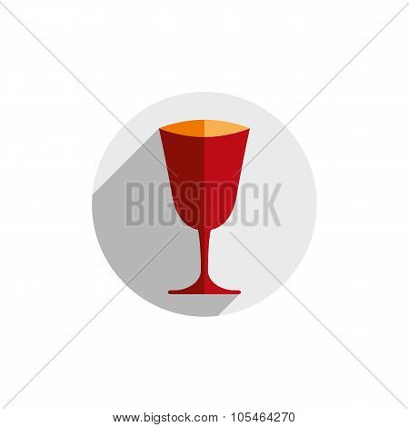 Red sophisticated vector champagne glass graphic element. Alcohol theme conceptual symbol for use in