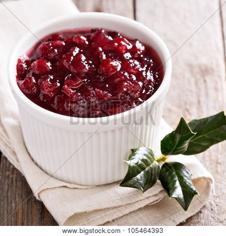 Cranberry sauce in ceramic ramekin