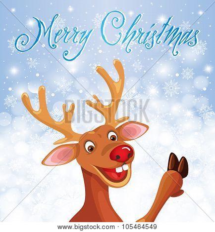 Reindeer Rudolph on Christmas snowflake background