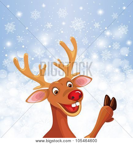 Reindeer Rudolph with copy space snowflake background