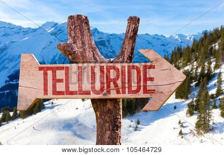 Telluride wooden sign with winter background