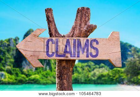 Claims arrow with beach background