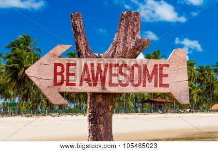 Be Awesome arrow with beach background