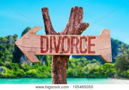 Divorce arrow with beach background
