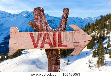 Vail wooden sign with winter background