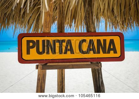 Punta Cana sign with beach background