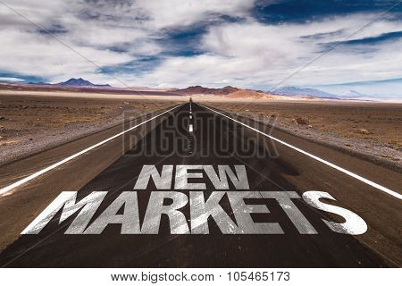 New Markets written on desert road