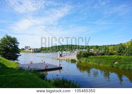 Large lake at the Malta park on a sunny day in Poznan Poland