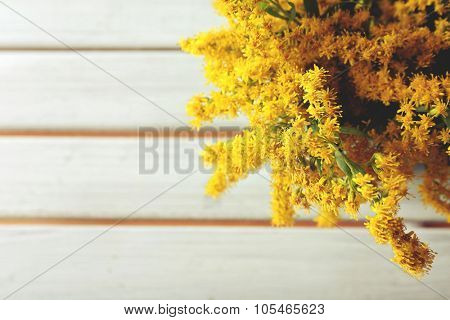 Beautiful mimosa flowers on wooden table, closeup