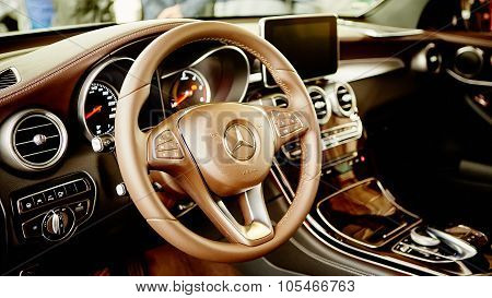 Kiev, Ukraine - OCTOBER 10, 2015: Mercedes Benz star experience. The series of test drives