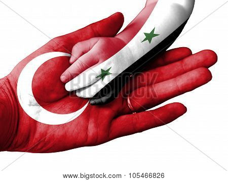 Adult Man Holding A Baby Hand With Turkey And Syria Flags Overlaid. Isolated On White
