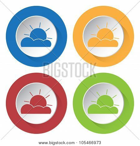 Set Of Four Icons - Partly Cloudy